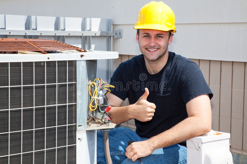 Air Condioner Repairman Thumbsup stock photo