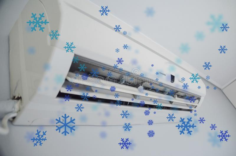 Air condition cooling snowflake flow  in the room. Air condition aircondition cooling snowflake flow summer  in the room stock photography
