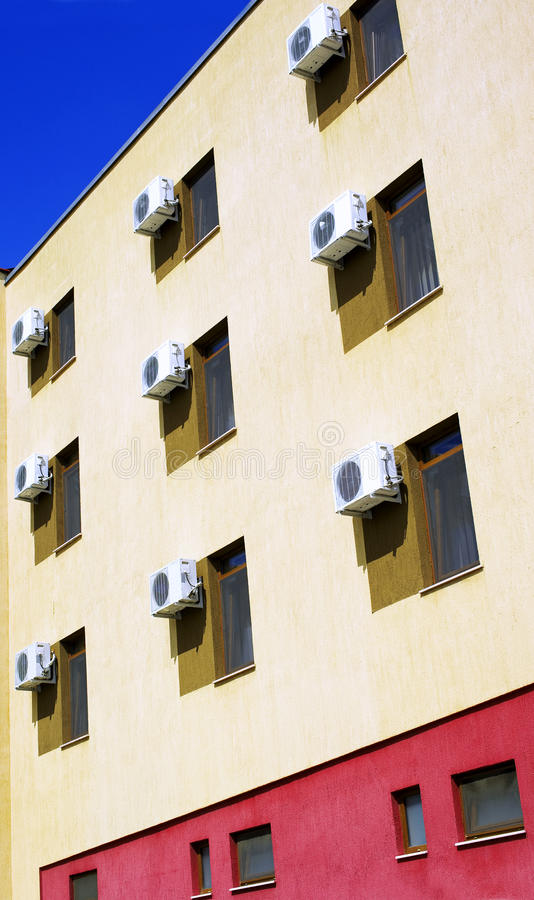 Air conditioner. Outdoor units on a building stock images