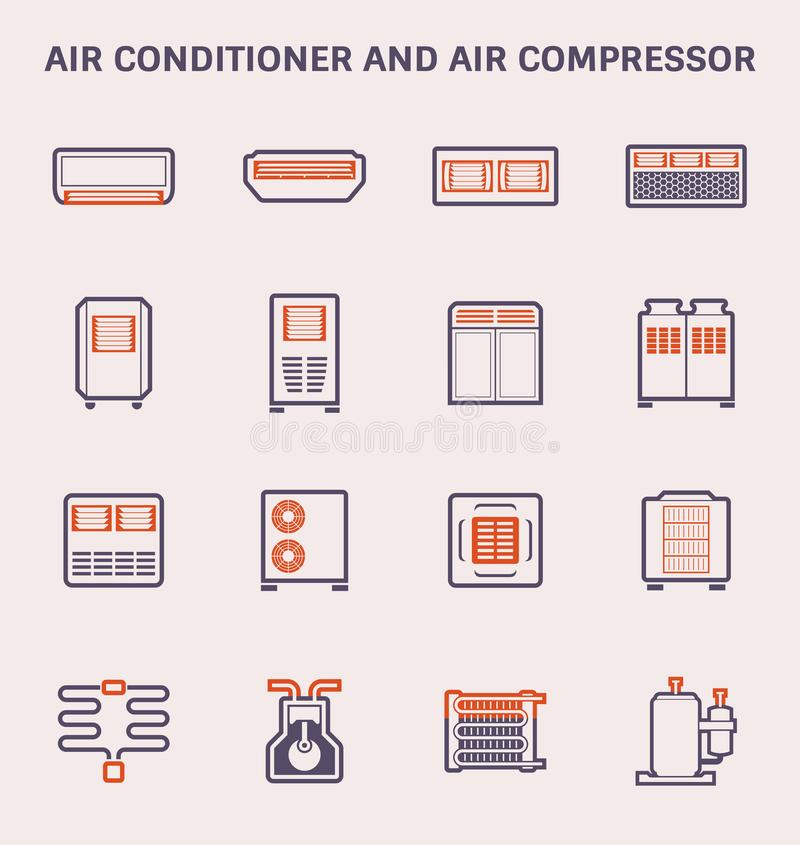 Air conditioner icon. Air conditioner and air compressor icon design, color and outline stock illustration