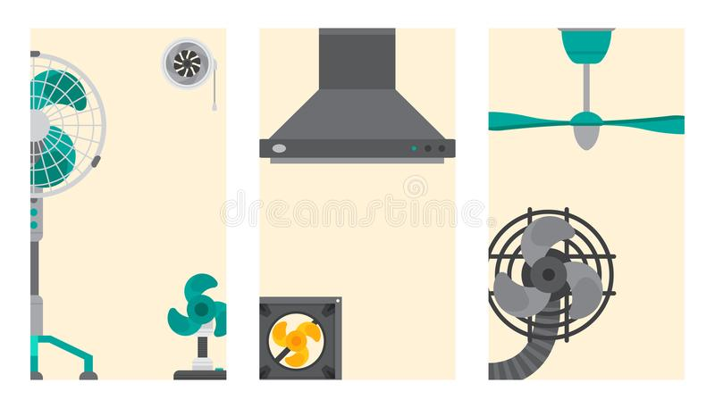 Air conditioner airlock systems cards ventilator conditioning climate fan technology temperature cool vector. Air conditioner airlock systems cadrs ventilator royalty free illustration
