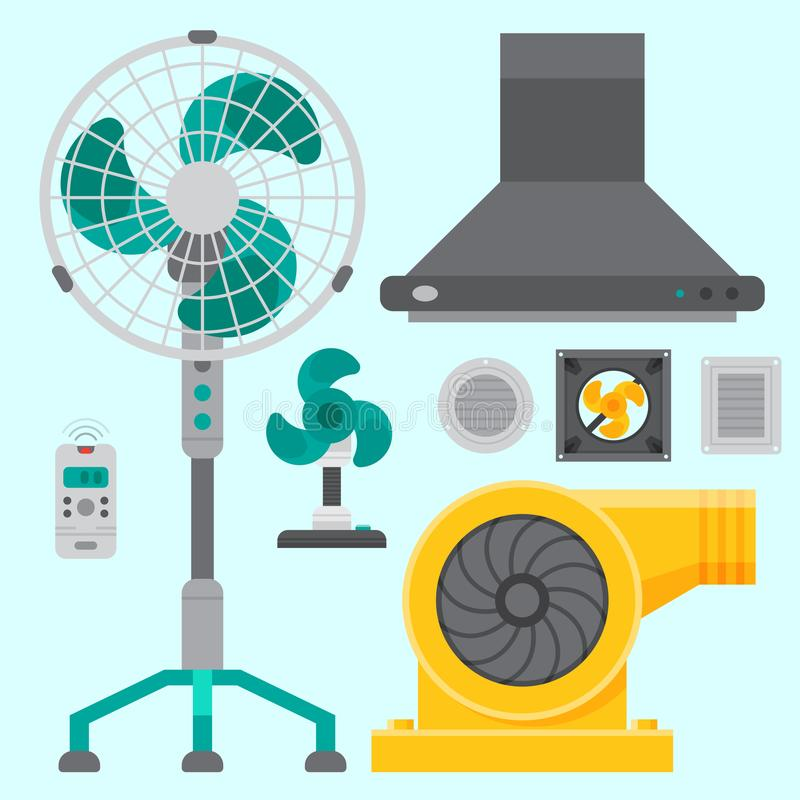 Air conditioner airlock systems equipment ventilator conditioning climate fan technology temperature cool vector. Air conditioner airlock systems equipment stock illustration