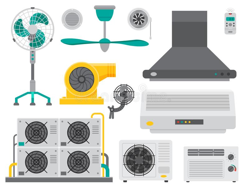 Air conditioner airlock systems equipment ventilator conditioning. Climate fan technology temperature cool home control vector illustration. Blow royalty free illustration