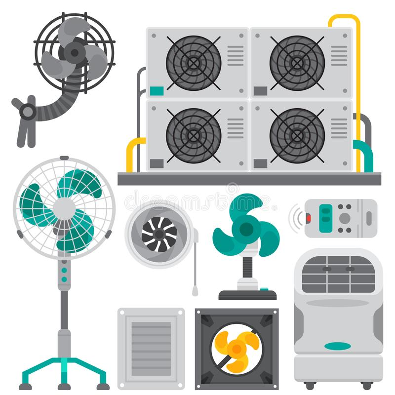 Air conditioner airlock systems equipment ventilator conditioning. Climate fan technology temperature cool home control vector illustration. Blow vector illustration