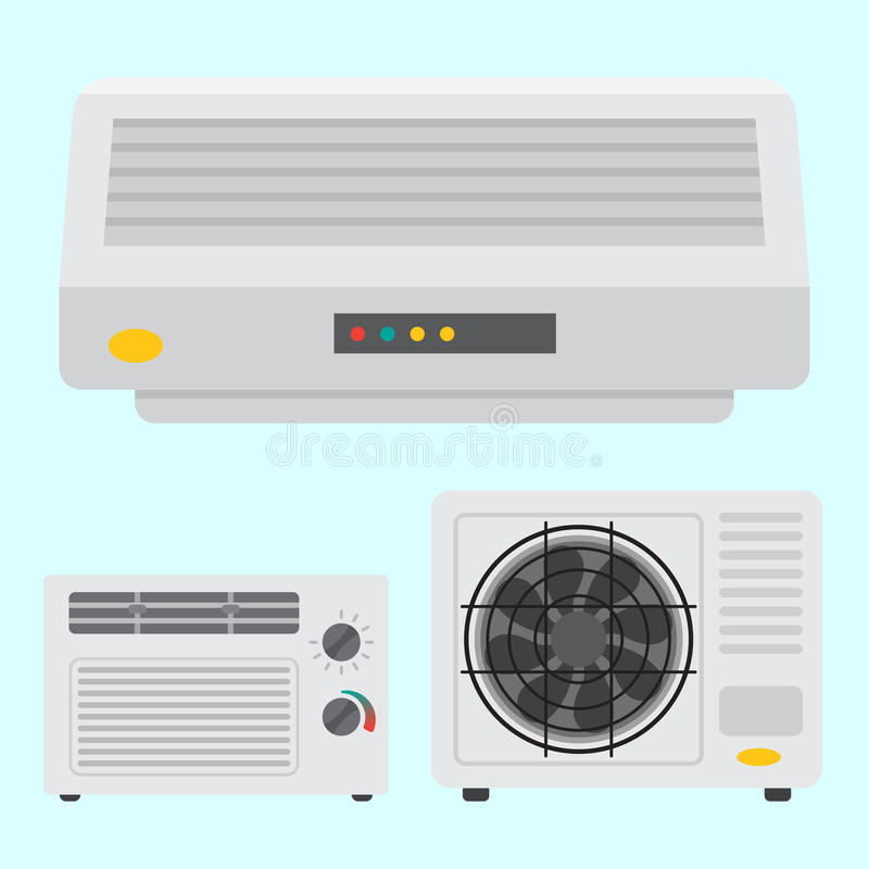 Air conditioner airlock systems equipment ventilator conditioning climate fan technology temperature cool vector. Air conditioner airlock systems equipment vector illustration