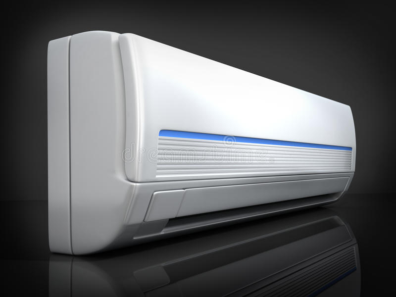 Air-conditioner. On black background (done in 3d royalty free illustration