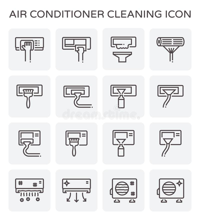 Air conditioner cleaning. Air conditioner and air compressor cleaning icon set royalty free illustration
