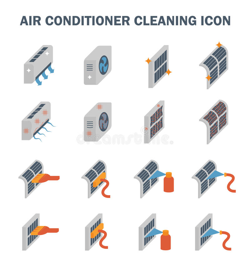 Air conditioner cleaning vector illustration