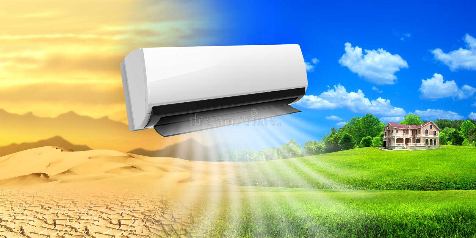 Air conditioner. Comfortable life. The desert turns into an oasis. Proportion for a billboard 3Ñ…6, high quality royalty free stock photo