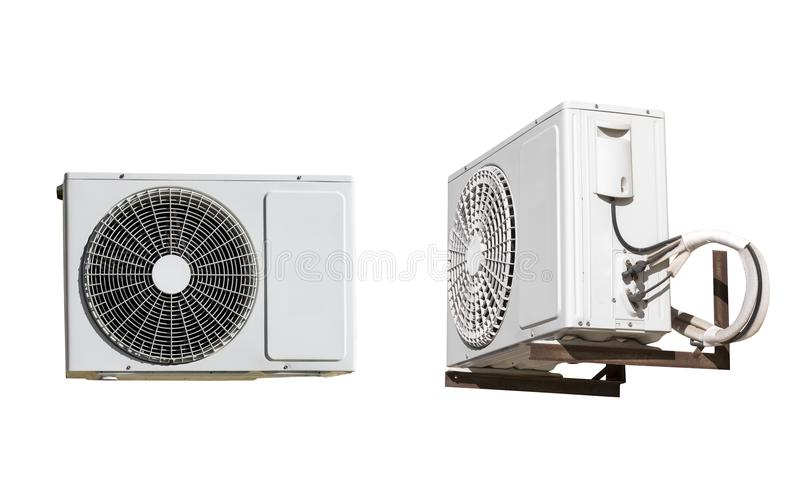 Air conditioner compressor unit isolated on white background stock image