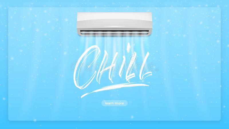 Air conditioner concept illustration. Chill lettering text and realistick conditioner with cold air flows breeze. Air royalty free illustration