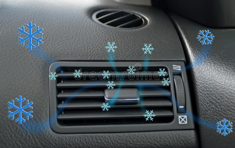 Air conditioner air condition car techonolgy cooling snowflakes air flow. Background royalty free stock photo