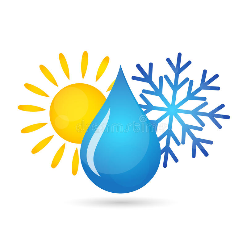 Air conditioner house flat. Air conditioner for homes, a drop of water, sun and snowflake vector illustration