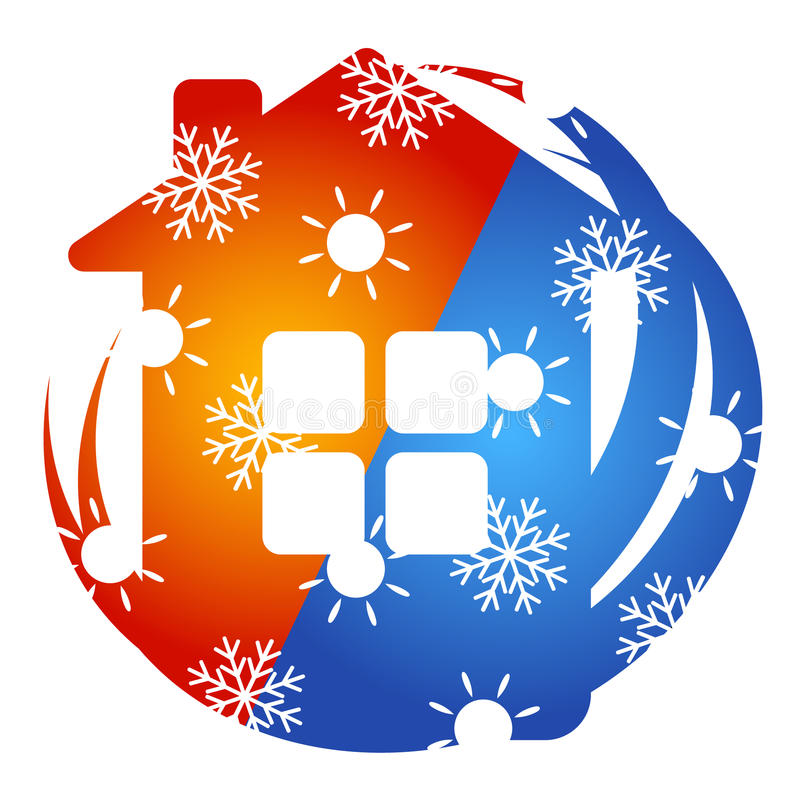 Air Conditioner House sign. Air Conditioner for home vector, sun and snowflake stock illustration