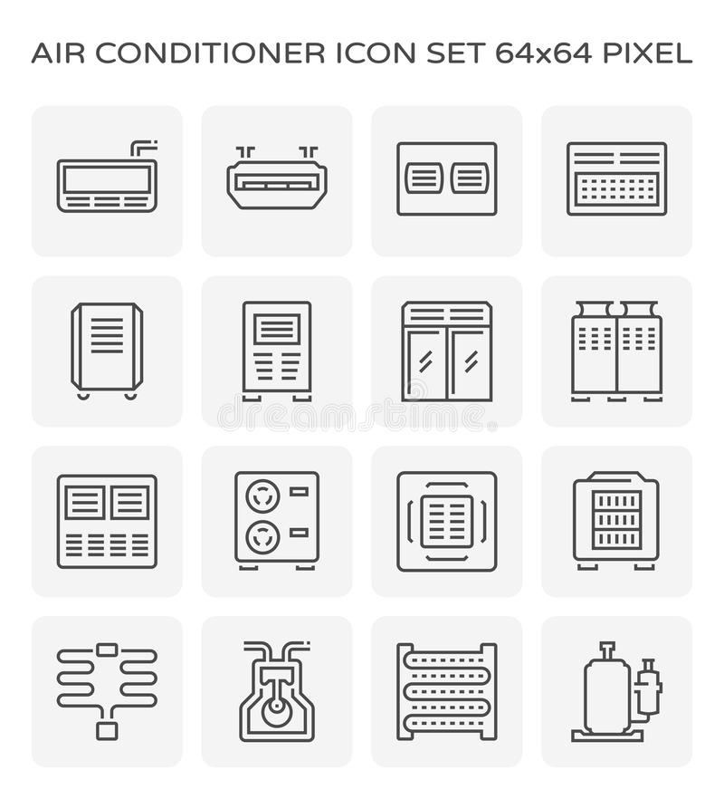 Air conditioner icon. Air conditioner and air compressor icon set, 64x64 perfect pixel and editable stroke vector illustration