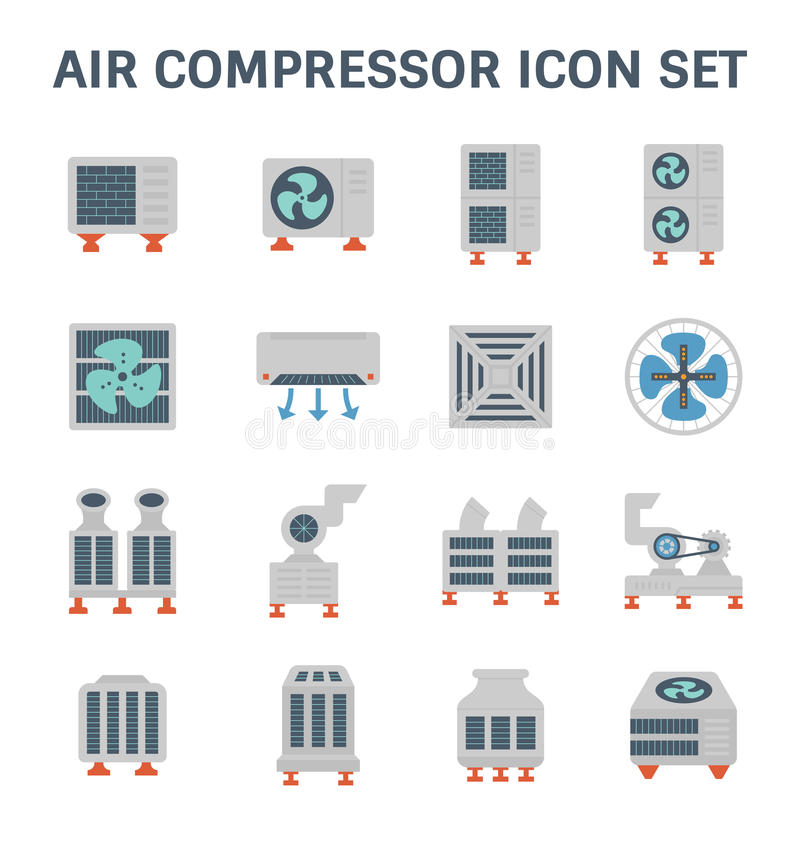 Air conditioner icon. Air conditioner and air compressor vector icon set royalty free illustration