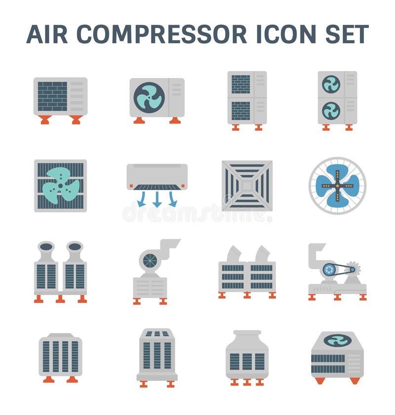 Air conditioner icon. Air conditioner and air compressor vector icon set stock illustration