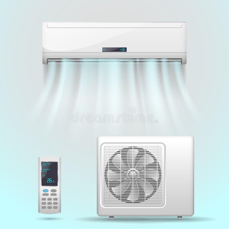 Air conditioner. Illustration in vector stock illustration