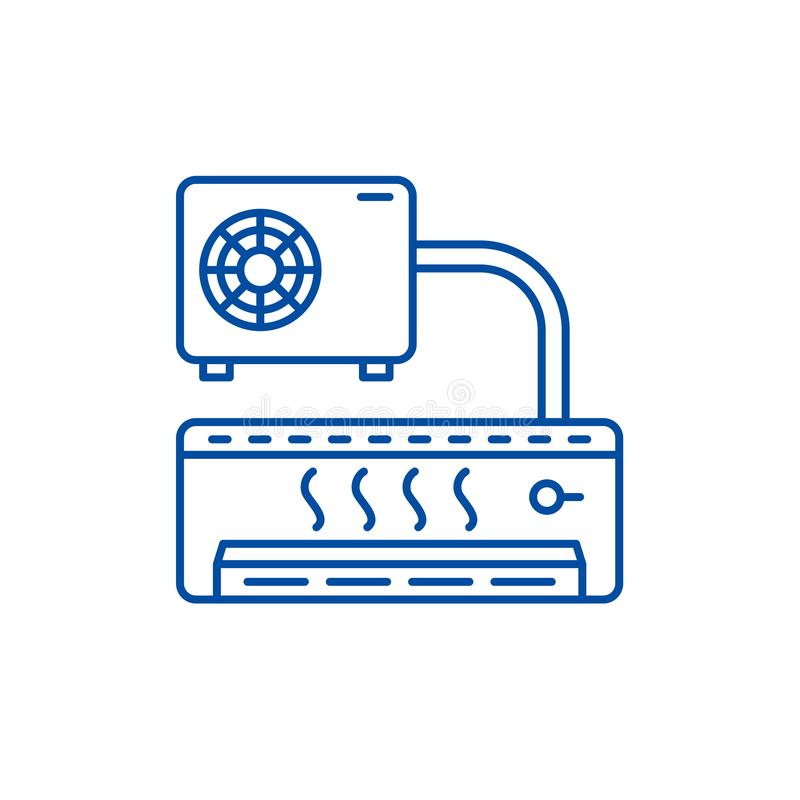 Air conditioner line icon concept. Air conditioner flat  vector symbol, sign, outline illustration. Air conditioner line concept icon. Air conditioner flat vector illustration