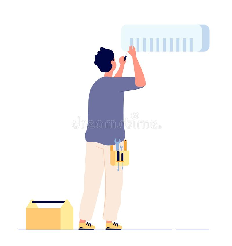 Air conditioner repair. Man technician doing maintenance air conditioners. AC home fixing, house conditioning service. Vector concept. Illustration of man stock illustration