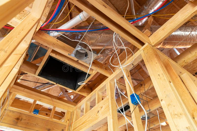 Air Conditioner return ductwork and wiring in new home construction. Air Conditioner return and wiring in new home construction royalty free stock photo