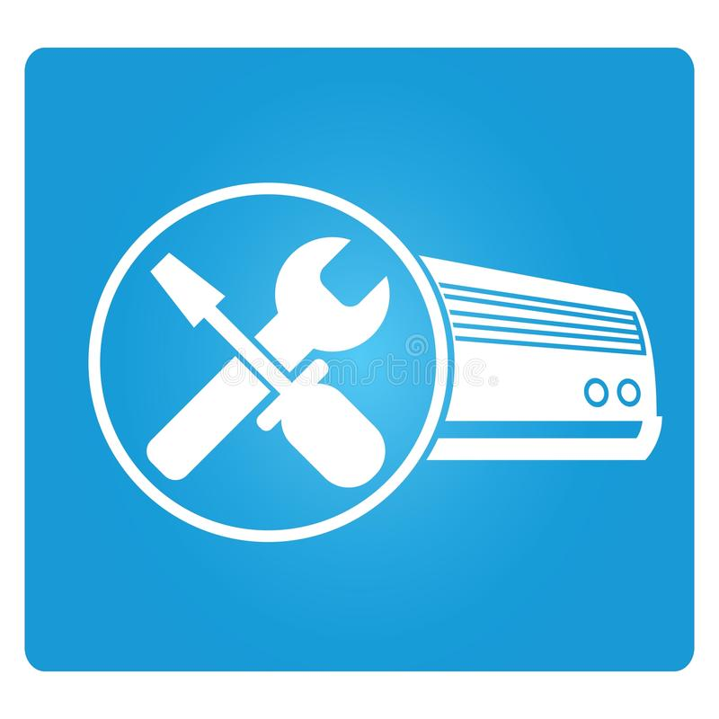 Air-conditioner service. Icon in blue button royalty free illustration