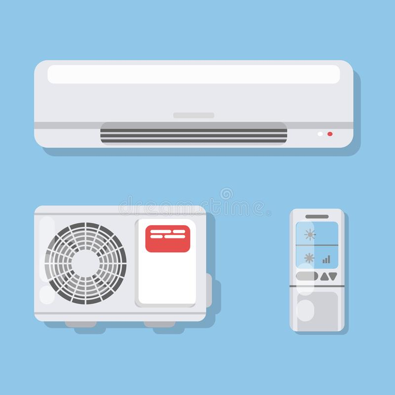 Air conditioner set. Fan and remote control with ventilation stock illustration