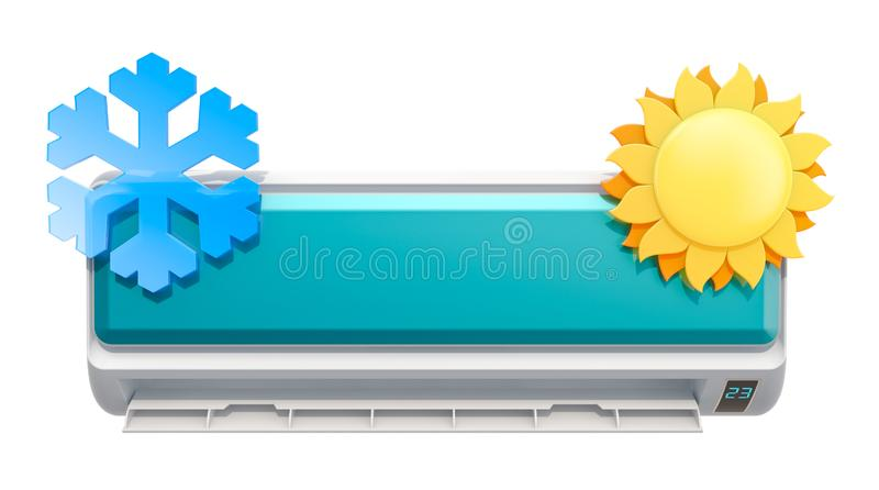 Air conditioner with snowflake and sun, 3D rendering. Isolated on white background vector illustration