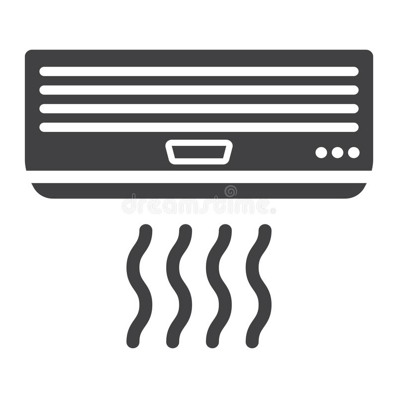 Air conditioner solid icon, electric and appliance. Vector graphics, a glyph pattern on a white background, eps 10 stock illustration