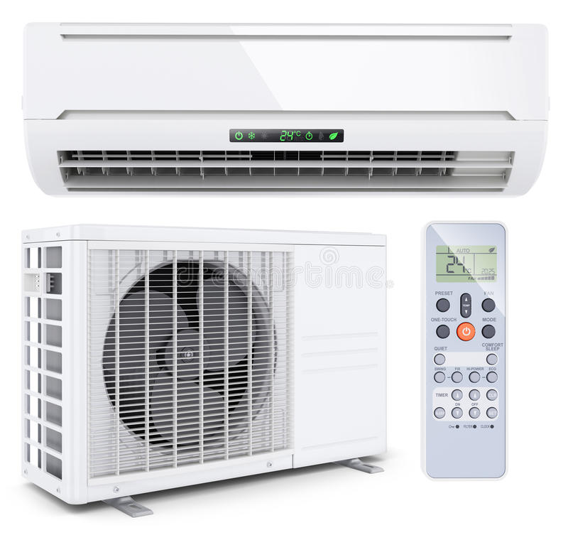 Air conditioner split system with remote controller stock illustration