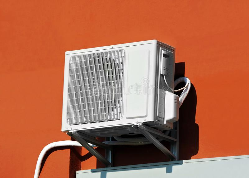 Air conditioner system on wall. HVAC air conditioning and ventilation systems on wall royalty free stock image