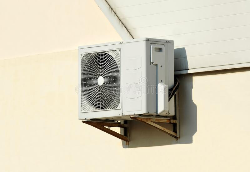 Air conditioner system on wall. HVAC air conditioning and ventilation systems on wall stock photography