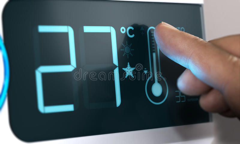 Air Conditioner Temperature Control, Degree Celsius. Home Automation stock illustration