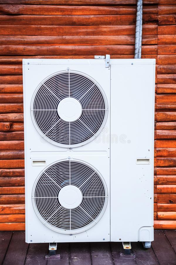 Air conditioner units use fan to distribute conditioned air to improve thermal comfort and indoor air quality. Air conditioning is stock image