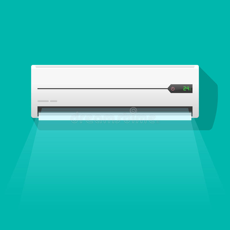 Air Conditioner Vector Illustration Isolated On Green