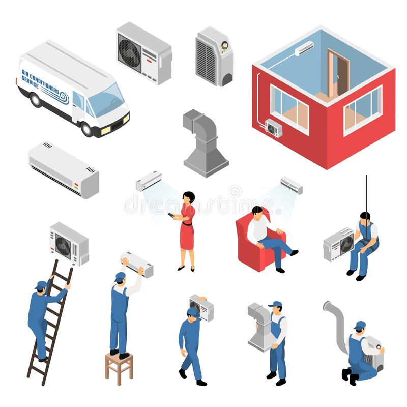 Air Conditioners Isometric Set. Air conditioners service isometric set with delivery van installation maintenance serviceman customer apartment cooling isolated stock illustration