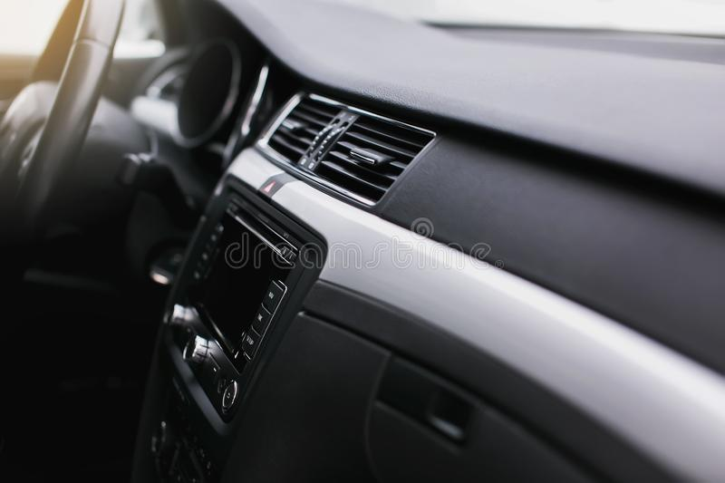 Air conditioning button inside a car. Climate control AC unit in the new car. Modern car interior details royalty free stock photo