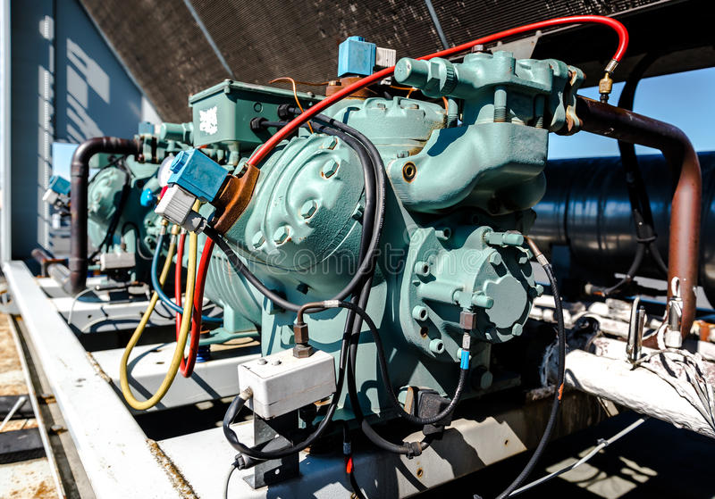 Air conditioning compressor. Close-up stock photography