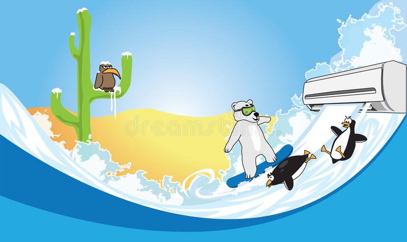 Air conditioning in the desert. Polar bear and penguins skate on snow royalty free illustration