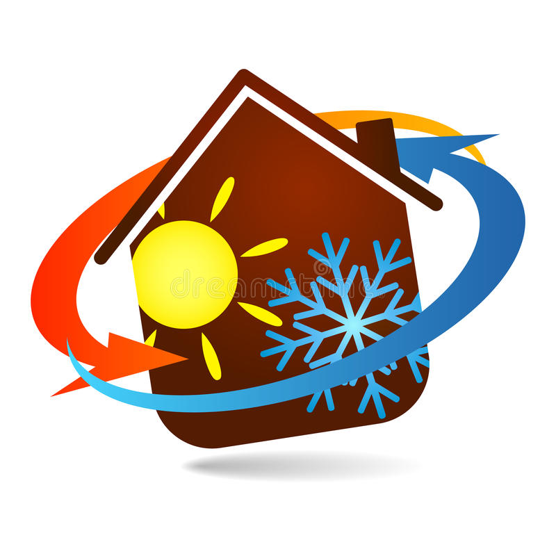 Air conditioning design for home business. Air conditioning and ventilation of houses symbol vector royalty free illustration