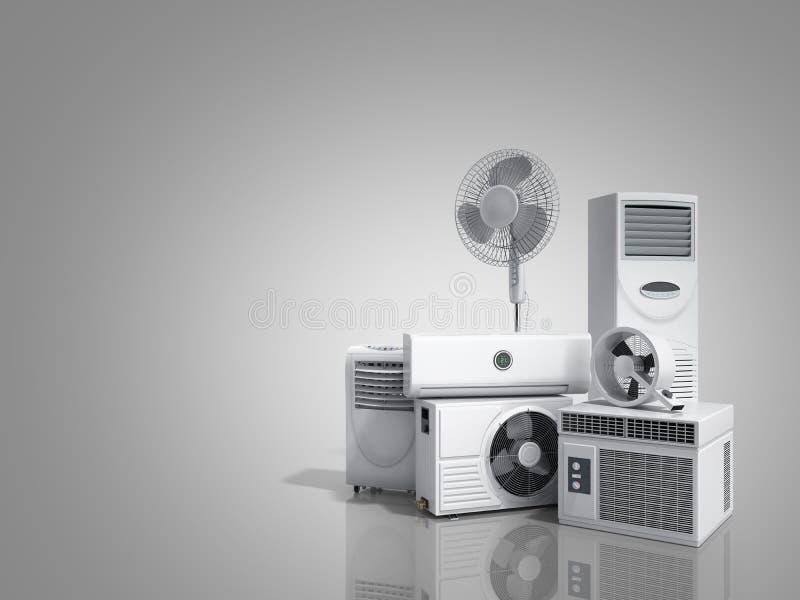 Air conditioning equipment 3d rensder on greybackground. Air conditioning equipment 3d rensder on vector illustration