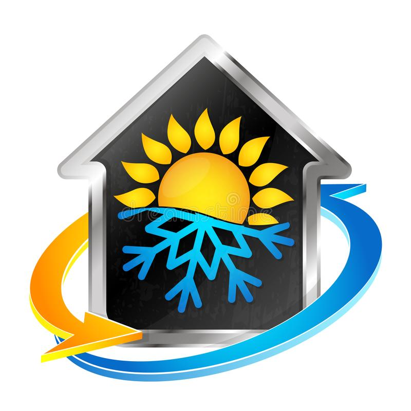 Air conditioning and heating symbol. Air conditioning and heating house symbol for business vector illustration