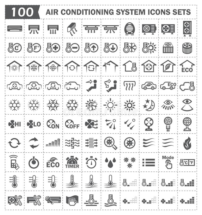 100 air conditioning icons. Air conditioning system or HVAC system vector icons sets stock illustration