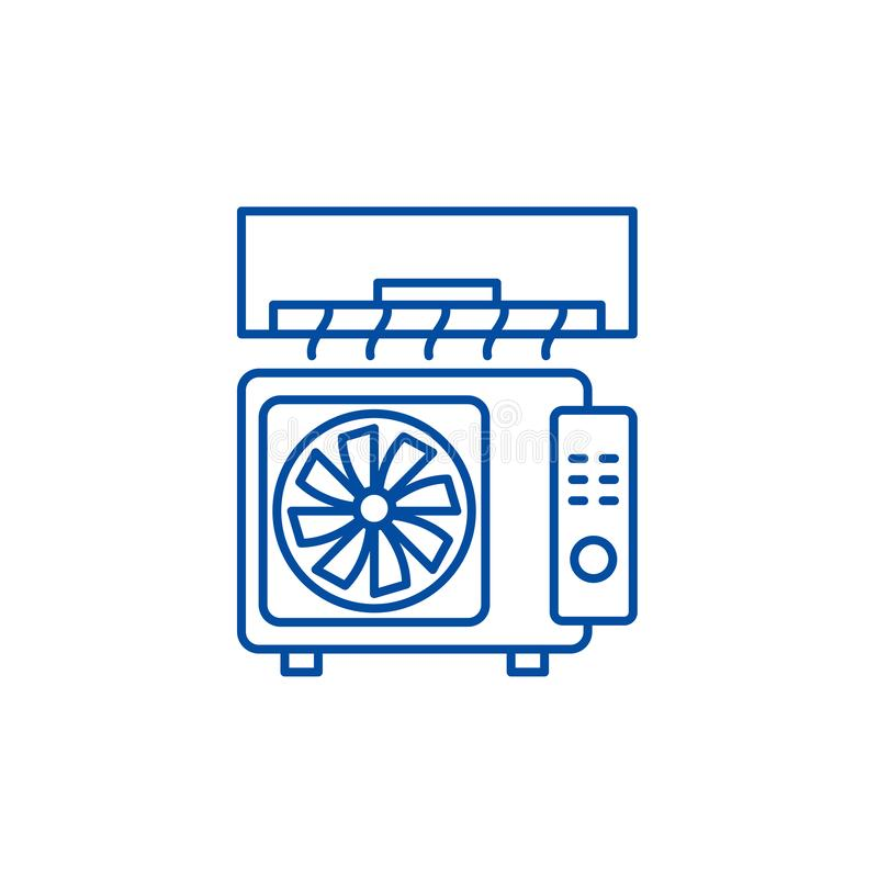 Air conditioning line icon concept. Air conditioning flat  vector symbol, sign, outline illustration. Air conditioning line concept icon. Air conditioning flat stock illustration