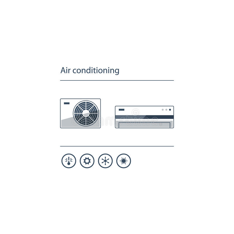 Air conditioning linear logo and icon. Ductless cooling and heating systems, home air conditioning service icons, climate control concept, vector illustration royalty free illustration