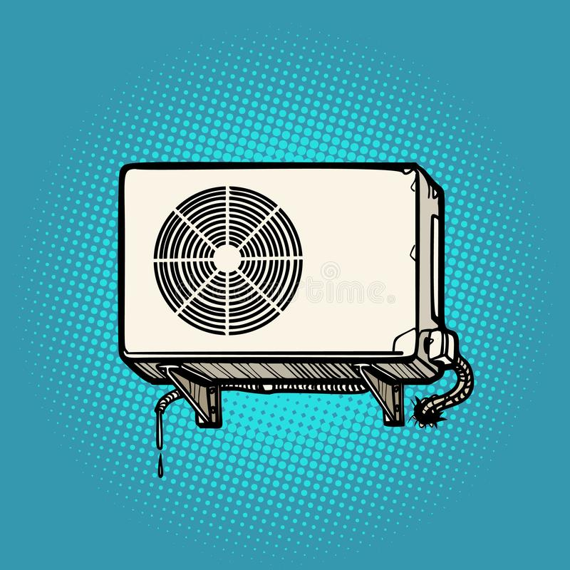 Air conditioning on the outside wall. Comic cartoon pop art retro illustration drawing royalty free illustration