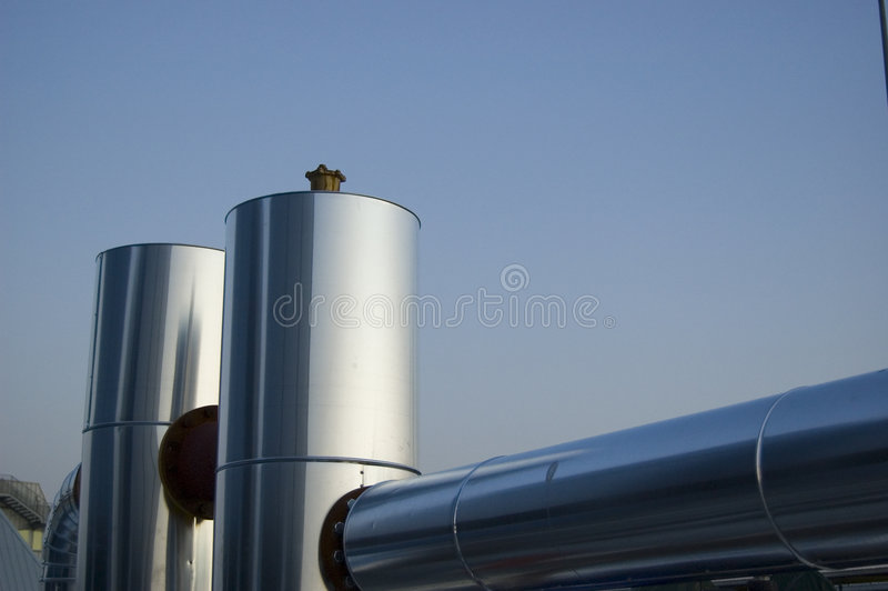 Air conditioning plant shining stock images