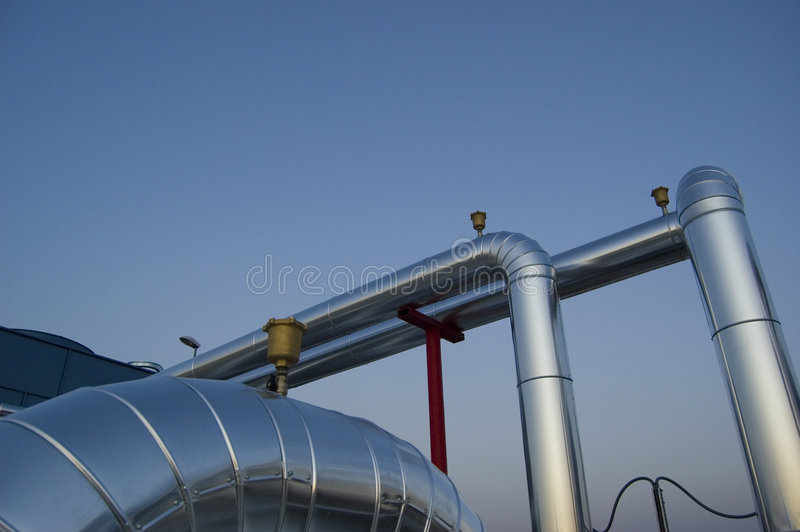 Air conditioning plant tubes and valves royalty free stock images