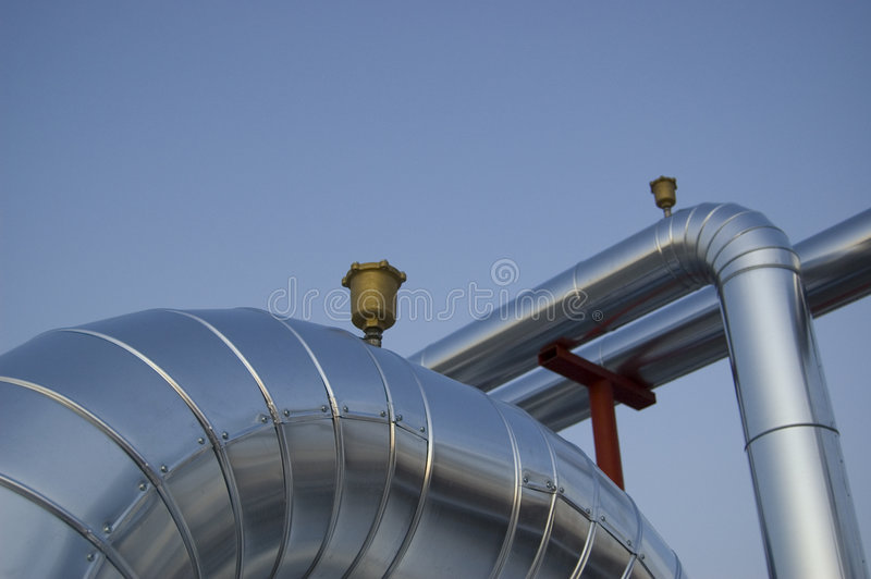 Air Conditioning plant valves royalty free stock photography