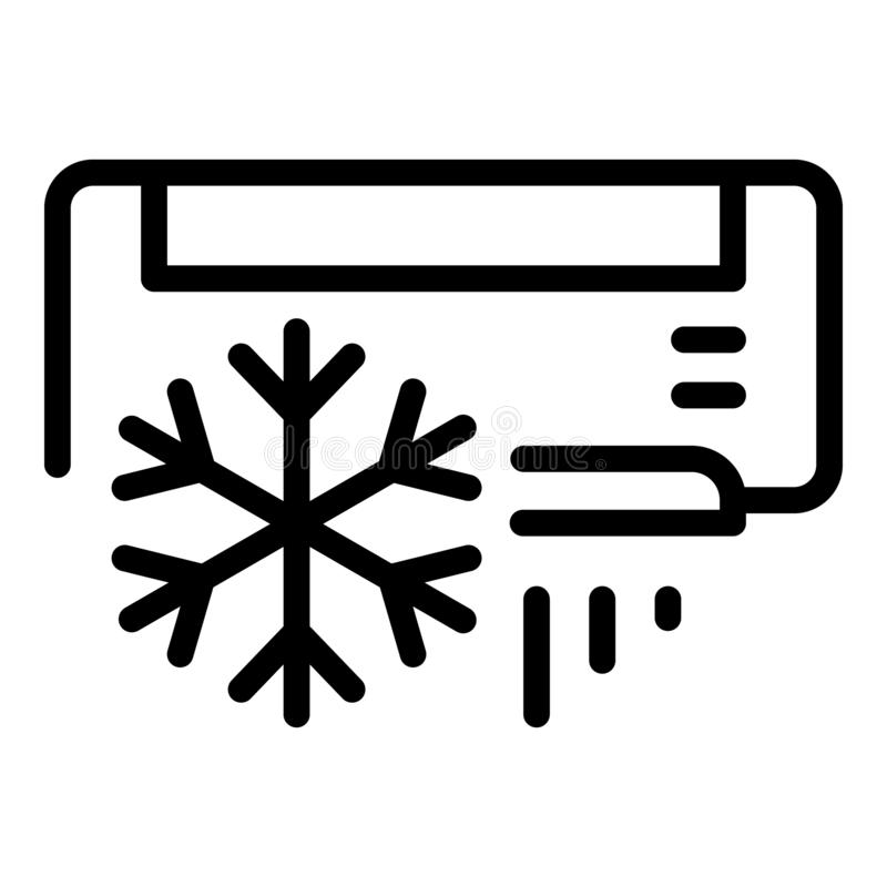Air conditioning snowflake icon, outline style stock illustration